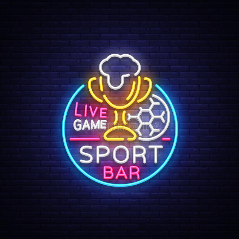 Bar bar logo in neon style. Football fan club, neon sign, light banner, beer label and soccer ball, or cup for live team royalty free illustration