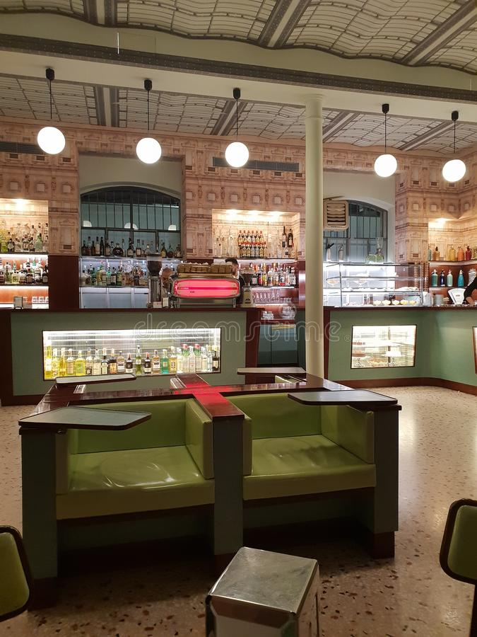 Bar luce by wes anderson in milano amazing design pastel colours architecture fondazione prada milan italia italy royalty free stock photography