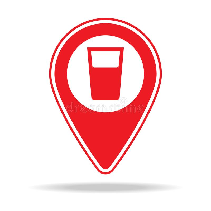 Bar map pin icon. Element of warning navigation pin icon for mobile concept and web apps. Detailed bar map pin icon can be used fo. R web and mobile on white vector illustration