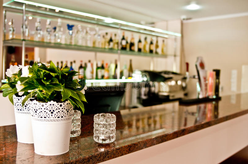 Bar with marble top stock photo