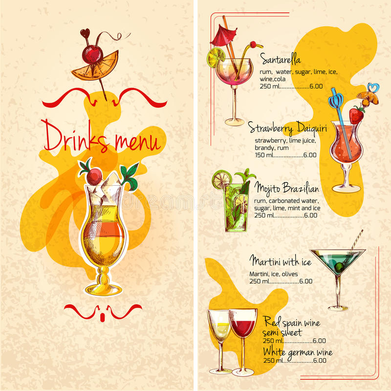 Bar Menu Sketch. Restaurant bar wine cocktails and alcoholic drinks menu sketch vector illustration stock illustration