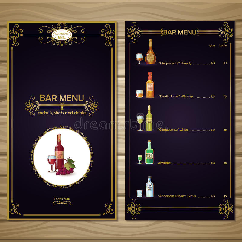 Bar Menu Template Stock Vector Illustration Of Different