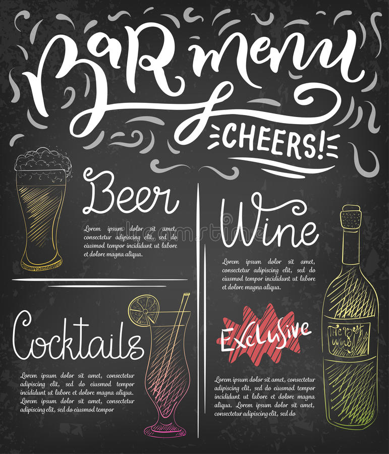 Bar Menu Template Stock Vector Illustration Of Design