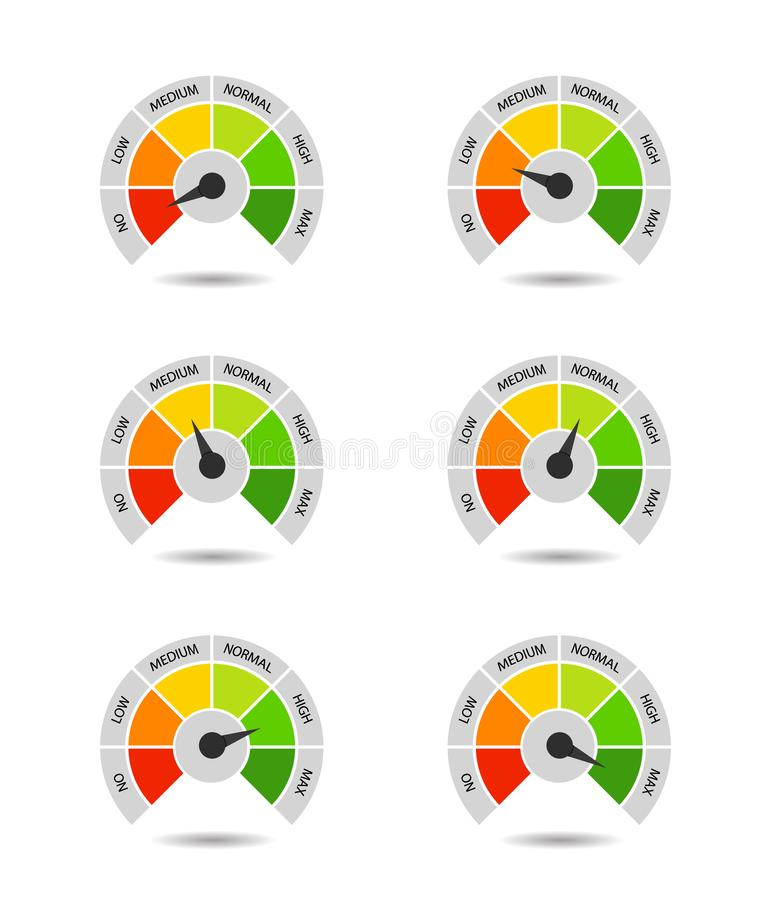Bar of meter with progress level from red to green. Measure ruler diagram of rating. Scale speedometer with low and high level. Concept graphic slider stock illustration