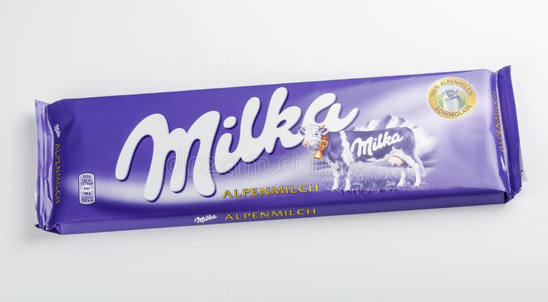 Bar of Milka chocolate isolated on white background royalty free stock photography