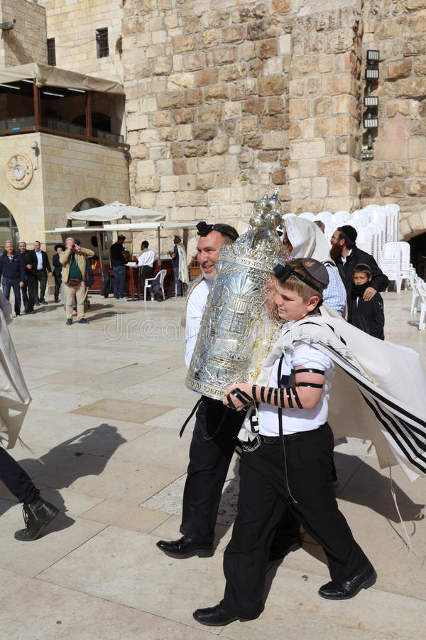 Bar Mitzvah Ceremony at the Western Wall in Jerusalem royalty free stock photos