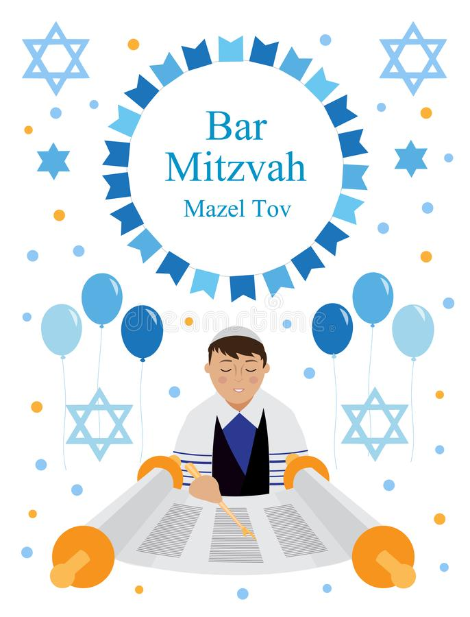 Bar mitzwahhälsning- eller inbjudankortet med den judiska pojken och stjärnan av David isolerade på vit bakgrund vektor vektor illustrationer