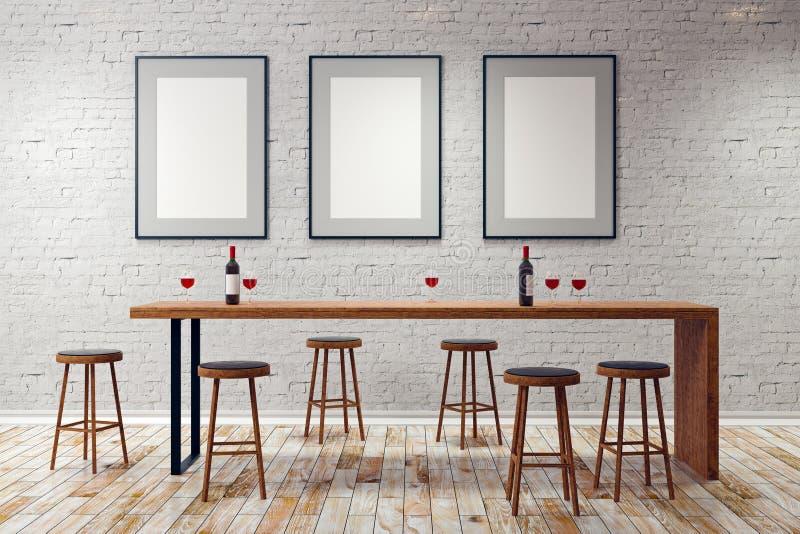 Bar moderne avec les cadres vides illustration de vecteur