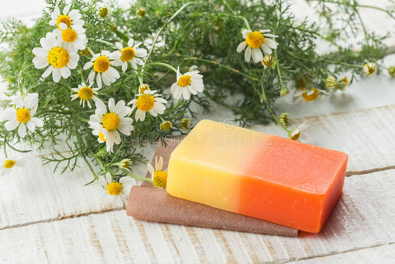 Bar of natural handmade soap royalty free stock images