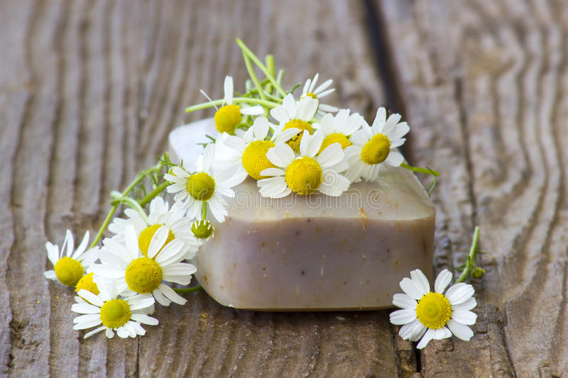 Bar of natural soap and chamomile flowers stock images