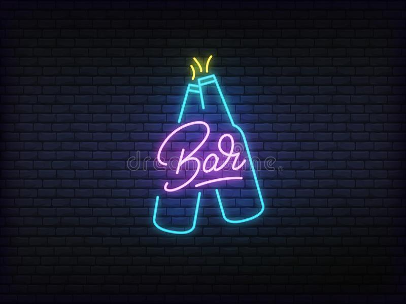 Bar neon glowing sign. Bright vector label of cheers beer bottles and lettering stock illustration