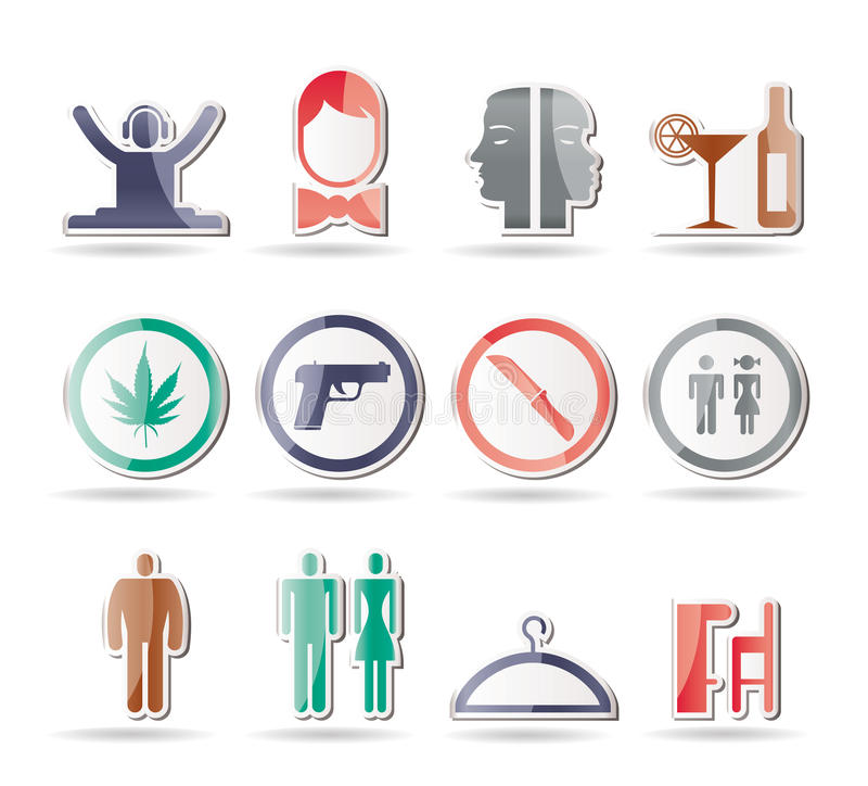 Download Bar and night club icons stock vector. Image of guard - 17369033