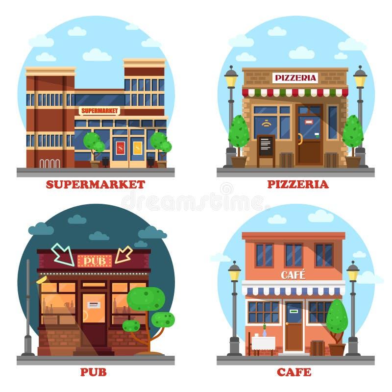 Bar och supermarket, pizzeria och kafébyggnader Affärsshop& x27; s-fasad på gatan med menyn och ljus stock illustrationer