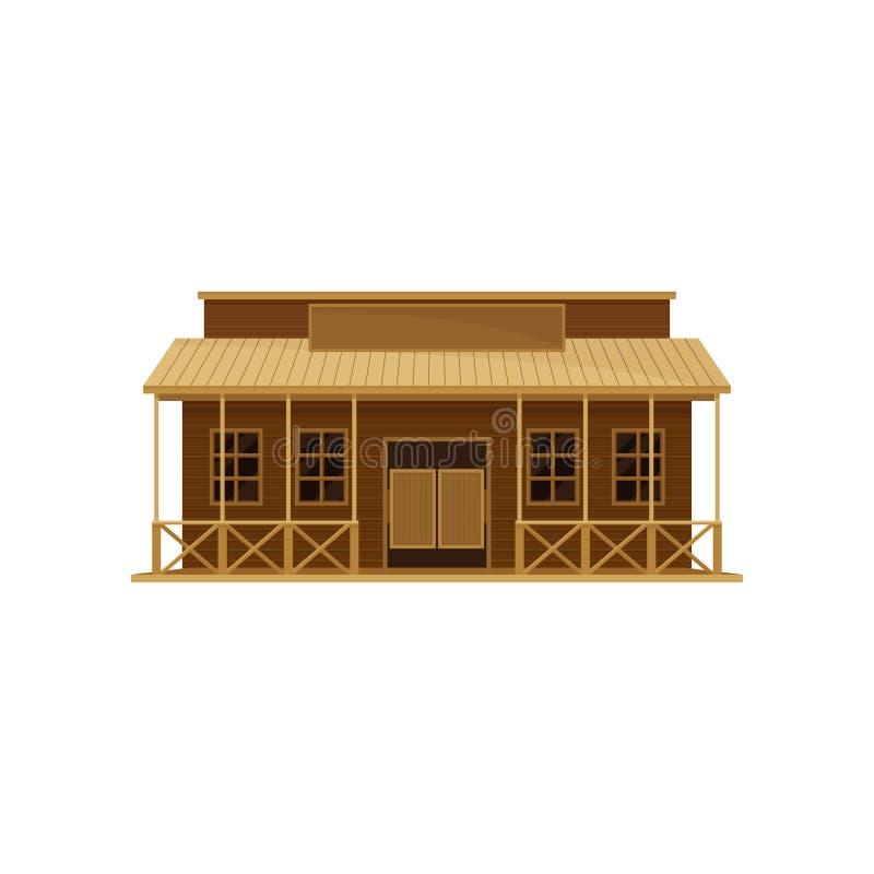 Bar ocidental com portas de balanço e o quadro indicador vazio Casa de madeira velha Tema da arquitetura Projeto liso do vetor ilustração stock
