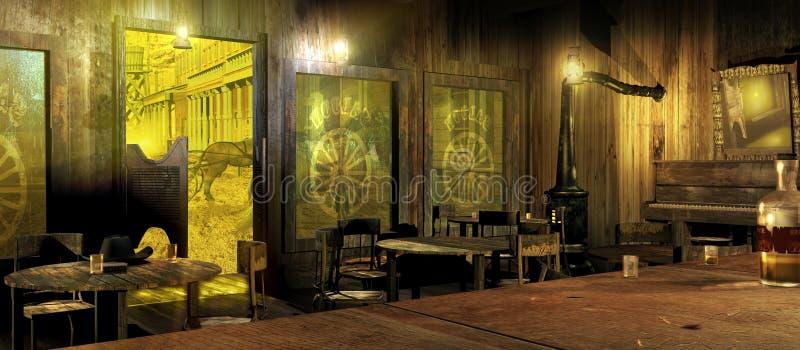 Bar ocidental na luz do dia ilustração do vetor