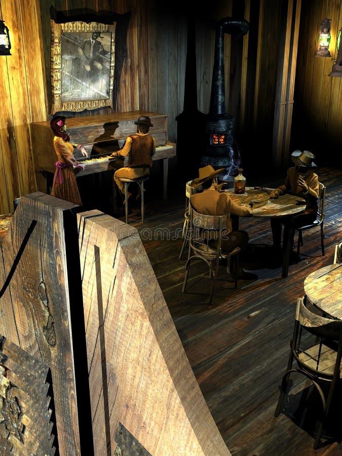 Bar ocidental velho ilustração stock