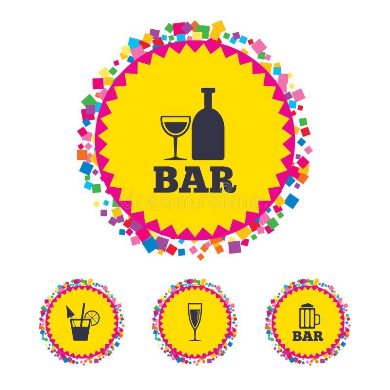 Bar- oder Kneipenikonen Glas Bier und Wein lizenzfreie abbildung