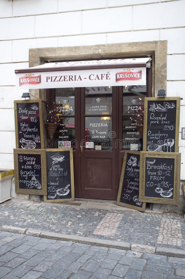 Download Pizza and coffee in Prague editorial stock photo. Image of italian - 30131183