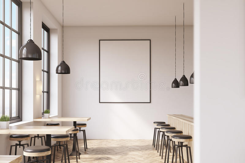 Bar with poster, wooden floor stock illustration