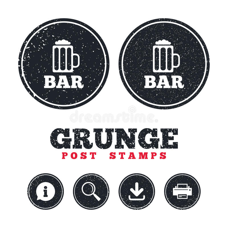 Bar Or Pub Sign Icon Glass Of Beer Symbol Stock Vector