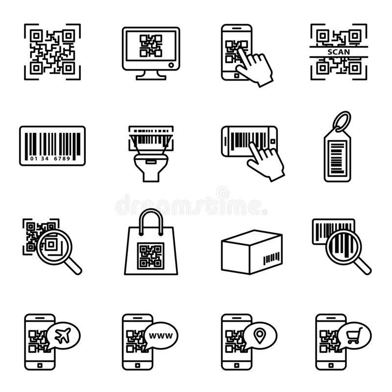 Bar and qr code scanning icon set. Computer product examination using a scanner, price information. stock illustration
