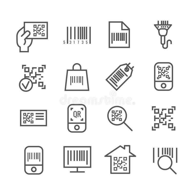 Bar and qr code scanning vector thin line icons stock illustration