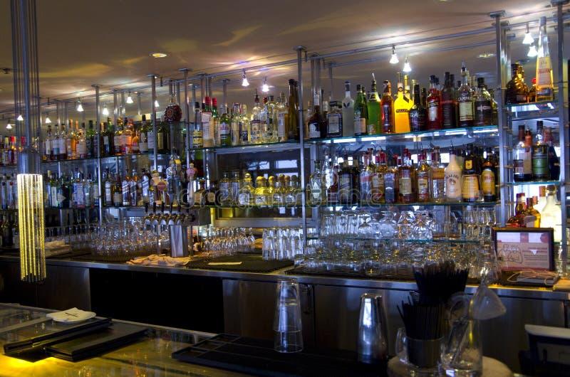 Bar restaurant counter shelves stock images