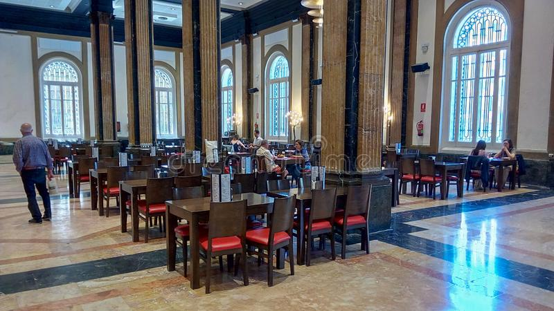 Bar and restaurant of França train station in Barcelona. The ancient bar and restaurant of the Estacio de França railway station on Barcelona city is an royalty free stock image