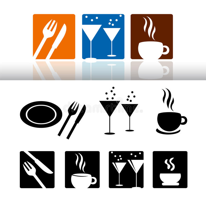 Download Bar & restaurant icon set stock illustration. Image of sign - 23480545
