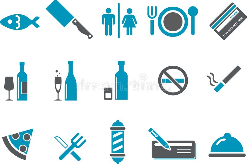Bar and restaurant Icon Set royalty free stock photography