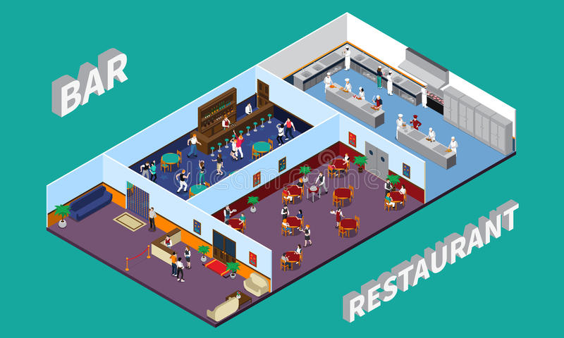 Bar Restaurant Isometric Design royalty free illustration