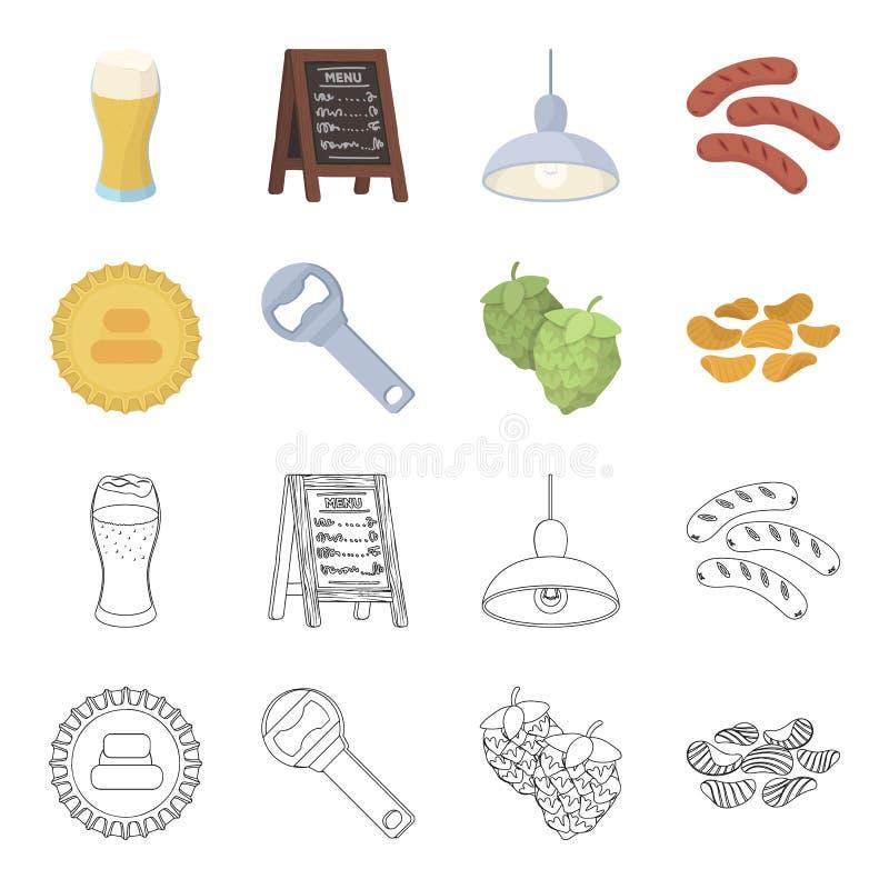 Bar, bar, restaurant, koffie Pictogrammen van de bar de vastgestelde inzameling in beeldverhaal, van de het symboolvoorraad van d stock illustratie