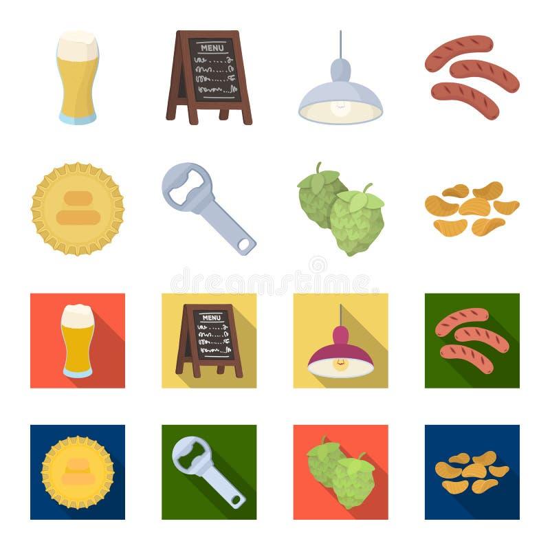 Bar, bar, restaurant, koffie Pictogrammen van de bar de vastgestelde inzameling in beeldverhaal, het vlakke Web van de de voorraa vector illustratie