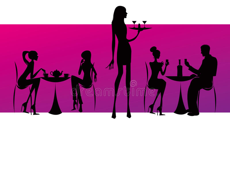 Bar restaurant lounge coffee women Illustration royalty free illustration