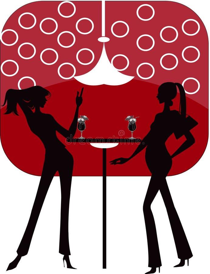 Bar restaurant lounge coffee women Illustration ve royalty free illustration