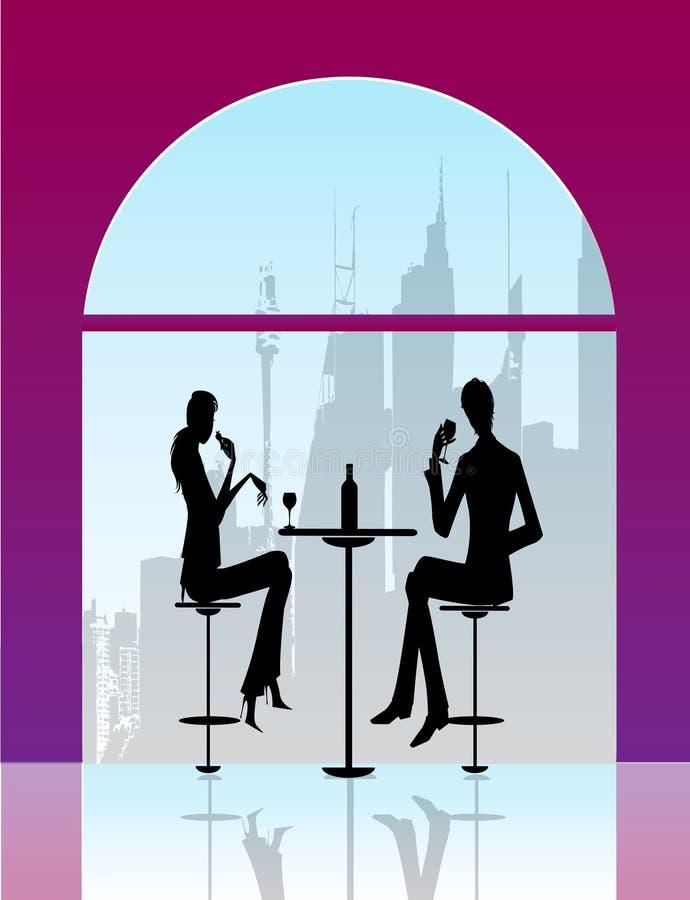 Bar restaurant lounge coffee women Illustration ve vector illustration