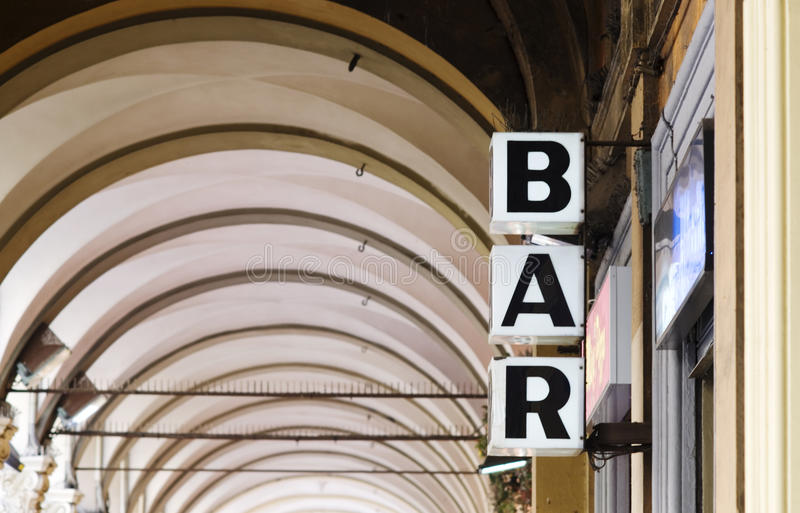 Bar. Sign in Bologna. Italy royalty free stock photo
