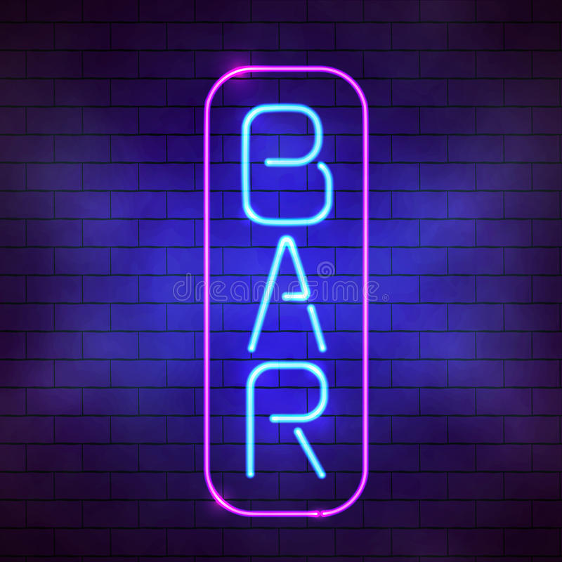 Bar sign in front of a wall. Glowing blue neon bar sign illustration. Bright fluorescent lamp on the brick wall background royalty free illustration