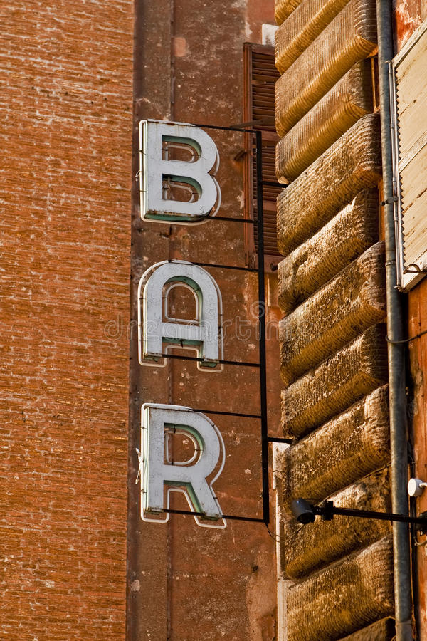 Download Bar sign in Rome, Italy stock photo. Image of wall, alley - 11193654