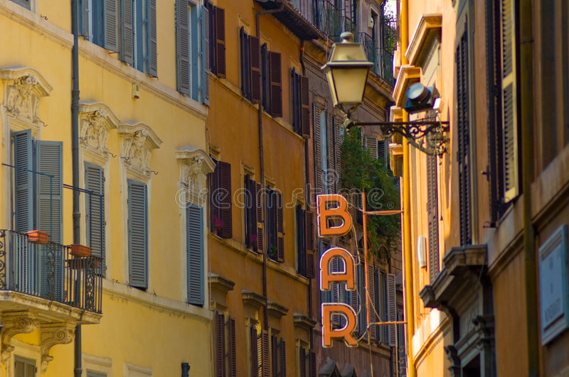 Bar Sign In The Street Of Rome Royalty Free Stock Photos