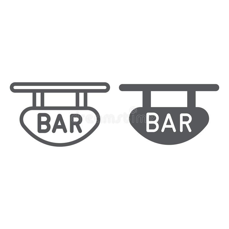 Bar signboard line and glyph icon, banner and decoration, wooden plank sign, vector graphics, a linear pattern on a. White background, eps 10 stock illustration