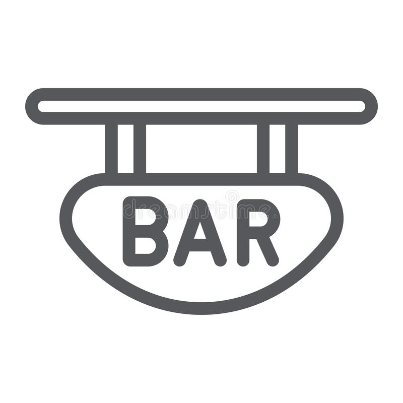 Bar signboard line icon, banner and decoration, wooden plank sign, vector graphics, a linear pattern on a white. Background, eps 10 royalty free illustration