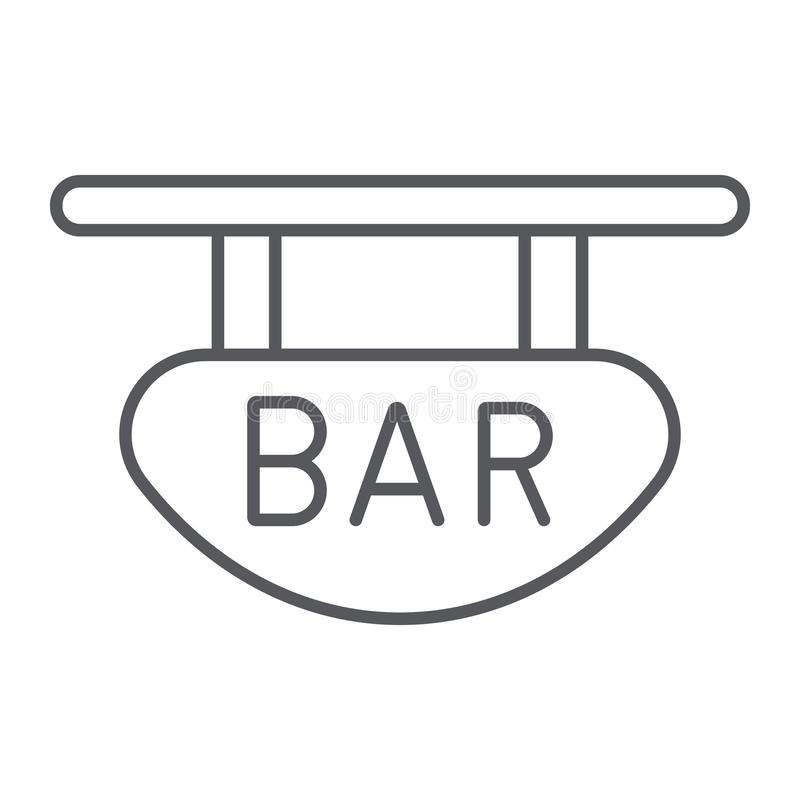 Bar signboard thin line icon, banner and decoration, wooden plank sign, vector graphics, a linear pattern on a white. Background, eps 10 stock illustration