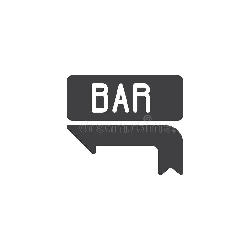 Bar signboard vector icon. Filled flat sign for mobile concept and web design. Bar arrow way pointer glyph icon. Nightlife symbol, logo illustration. Pixel royalty free illustration