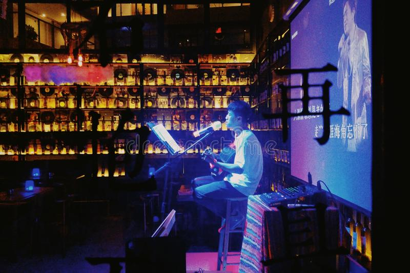 Bar singer foto de stock