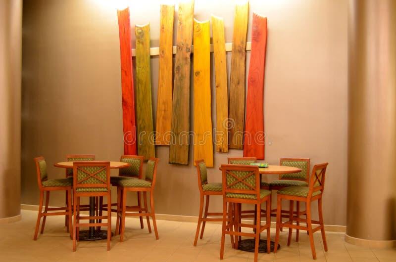Bar Stools and Tables, Wood Art royalty free stock image
