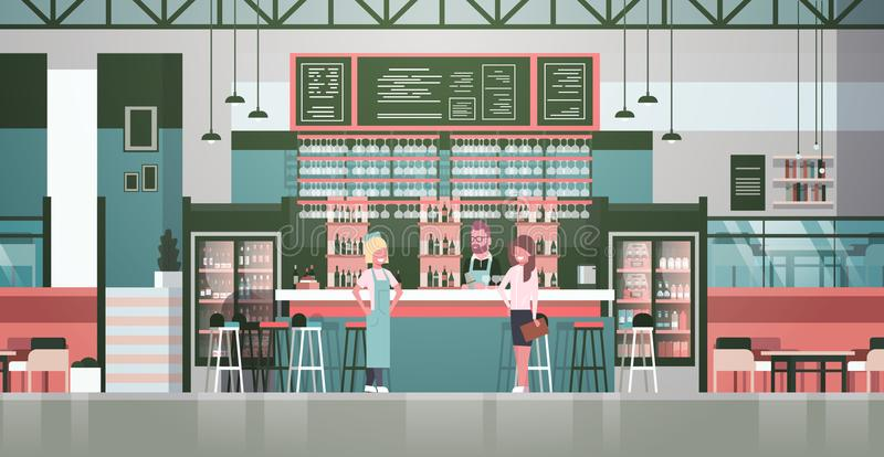 Bar Stuff Bartender, Waiter And Administrator Standing At Counter Over Bottles Of Alcohol And Glasses On Background. Flat Vector Illustraton royalty free illustration