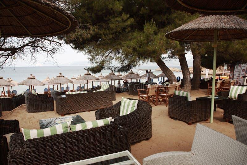 Bar sur la plage de banane, Skiathos photos libres de droits