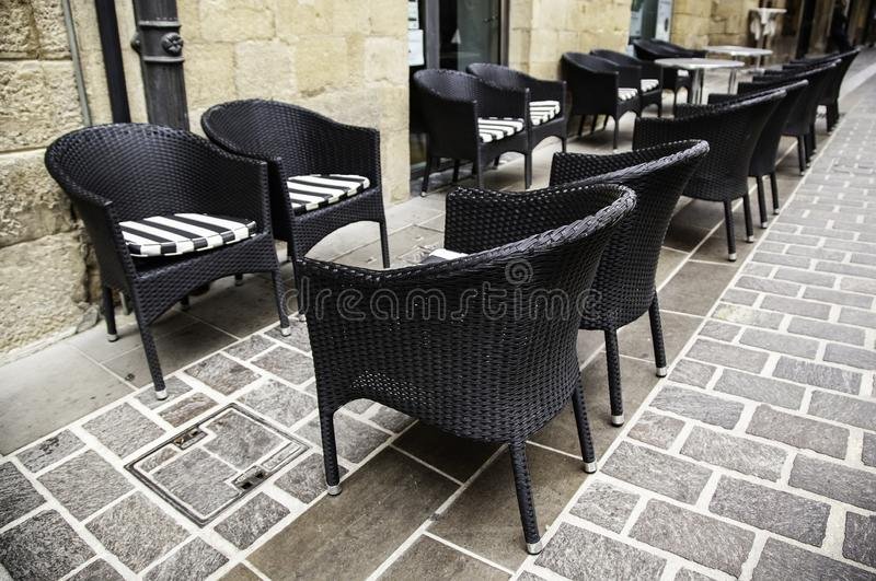 Bar terrace tables. Bar, restaurant and leisure terrace tables, construction, material, festive, event, texture, service, tourist, architecture, building royalty free stock image
