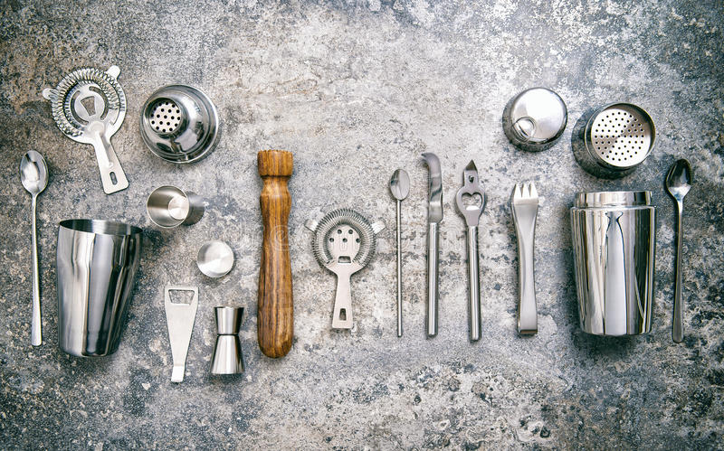 Bar tools making cocktail Shaker jigger Food beverages vintage royalty free stock image